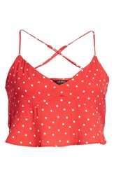 Afrm Kyla Crop Top Red Polka Dot