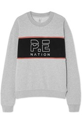 P.E Nation Invictus Oversized Paneled Cotton Jersey Sweatshirt Gray