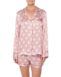 Neiman Marcus Contrast Trim Long Sleeve Shortie Pajama Set Holiday Print