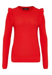 Hallhuber Rib Stitch Jumper With Ruffle Detail Red