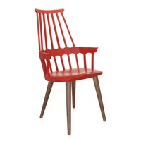 Kartell Comback Four Legs Chair Orangy Red Oak