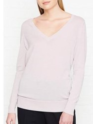 Reiss Savona Metallic V Neck Knit Jumper Blush Silver Pink