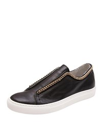 Andre Assous Danica Leather Slip On Sneakers W Chain Black Gold