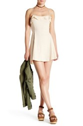Free People More Than A Mini Lace Up Dress Beige