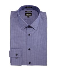 Neiman Marcus Trim Fit Regular Finish Patterned Dress Shirt Blue