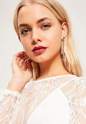 Missguided Gold Chain Drop Back Earrings