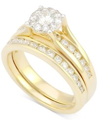 Macy's Diamond Bridal Channel Set 1 Ct. T.W. In 14K White Gold Yellow Gold