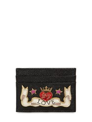 Dolce And Gabbana Love Leather Card Holder Black