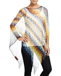 Missoni Zigzag Poncho W Fringe Yellow Blue White