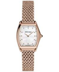 Emporio Armani Men's Swiss Automatic Classic Diamond Accent Rose Gold Tone Stainless Steel Mesh Bracelet Watch 28X30mm Ars7701