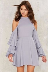Following The River Cold Shoulder Dress Gray