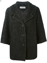 Alberto Biani Herringbone Pattern Oversized Jacket Black