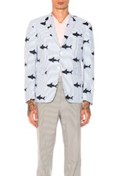 Thom Browne Seersucker Shark Embroidery Blazer In Abstract Blue Stripes Abstract Blue Stripes