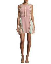 Alexis Keely Colorblock Ruffle Mini Dress Pink