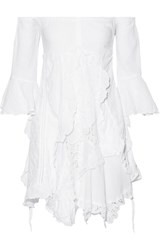 Anjuna Elvira Off The Shoulder Cotton Blend Gauze Mini Dress White