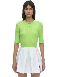 Courreges Short Sleeve Cotton Knit Top Green