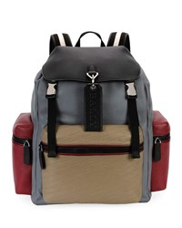 Bally Embossed Multicolor Leather Backpack