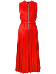 Victoria Beckham Zip Front Pleated Dress Red