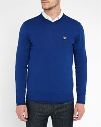 Armani Jeans Blue Aj Logo V Neck Sweater