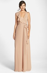 Women's Nouvelle Amsale Long Chiffon Wrap Dress Sand