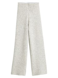 Mango Ribbed Palazzo Trousers Light Pastel Grey