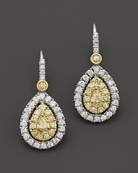 Bloomingdale's Natural Yellow Diamond Pear Shaped Earrings In 18K Yellow And White Gold 1.05 Ct. T.W. Multi