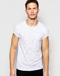 Asos T Shirt With Roll Sleeve And Speckled Print In White White