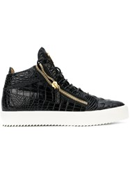 Giuseppe Zanotti Design Crocodile Embossed Kriss Sneakers Black