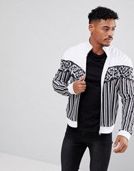 Jaded London Track Jacket In White With Stripes And Chevron Print White