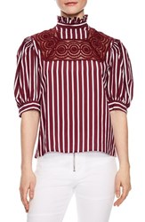 Sandro Lace Inset Puff Sleeve Top Burgundy