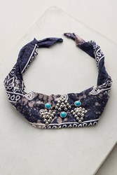 Anthropologie Blaine Crystal Bandana Choker Blue