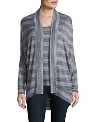H Halston Open Front Cocoon Cardigan Blue