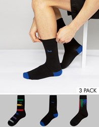 Pringle Socks In 3 Pack With Stripe In Black Black