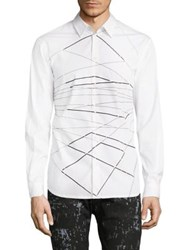 Diesel Black Gold Regular Fit Cotton Blend Shirt Snow White