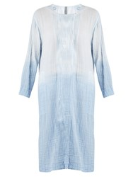 Raquel Allegra Round Neck Long Sleeved Cotton Gauze Dress Light Blue