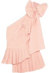 Sea Bow Embellished One Shoulder Poplin Top Pastel Pink