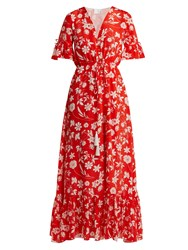 Athena Procopiou Farrah Floral Print Silk Dress Red Multi