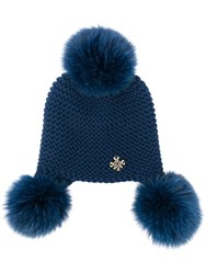 Mr And Mrs Italy Fur Pompoms Knitted Beanie Blue