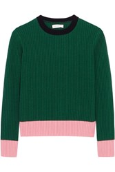 Chinti And Parker Color Block Ribbed Wool Cashmere Blend Sweater Green