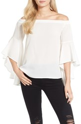 Chelsea 28 Women's Chelsea28 Bell Sleeve Off The Shoulder Top White Snow