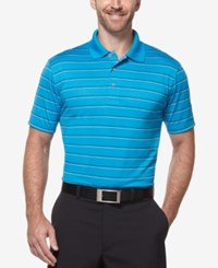 Pga Tour Men's Big And Tall Airflux Striped Golf Polo Methyl Blue