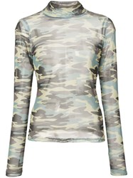 Sandy Liang Camouflage Long Sleeve Top Green