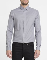 Eleven Paris Grey Ettore Micro Check Hidden Button Placket Shirt