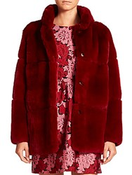 P.A.R.O.S.H. Quark Hooded Rabbit Fur Coat Red