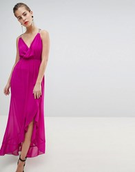 Morgan Wrap Front Midaxi Dress With Chain Strap Detail Pink