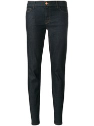 J Brand Maude Mid Rise Tapered Jeans Cotton Polyurethane Blue