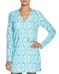Macbeth Collection Printed Hooded French Terry Tunic Swim Cover Up Aqua White