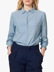 Brora Houndstooth Cotton Shirt China Blue White