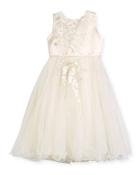 Joan Calabrese Satin And Tulle Special Occasion Dress W Floral Embroidery Ivory
