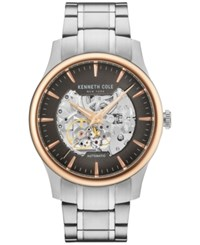 Kenneth Cole New York Men's Automatic Skeleton Stainless Steel Bracelet Watch 42Mm Kc15110001 Silver